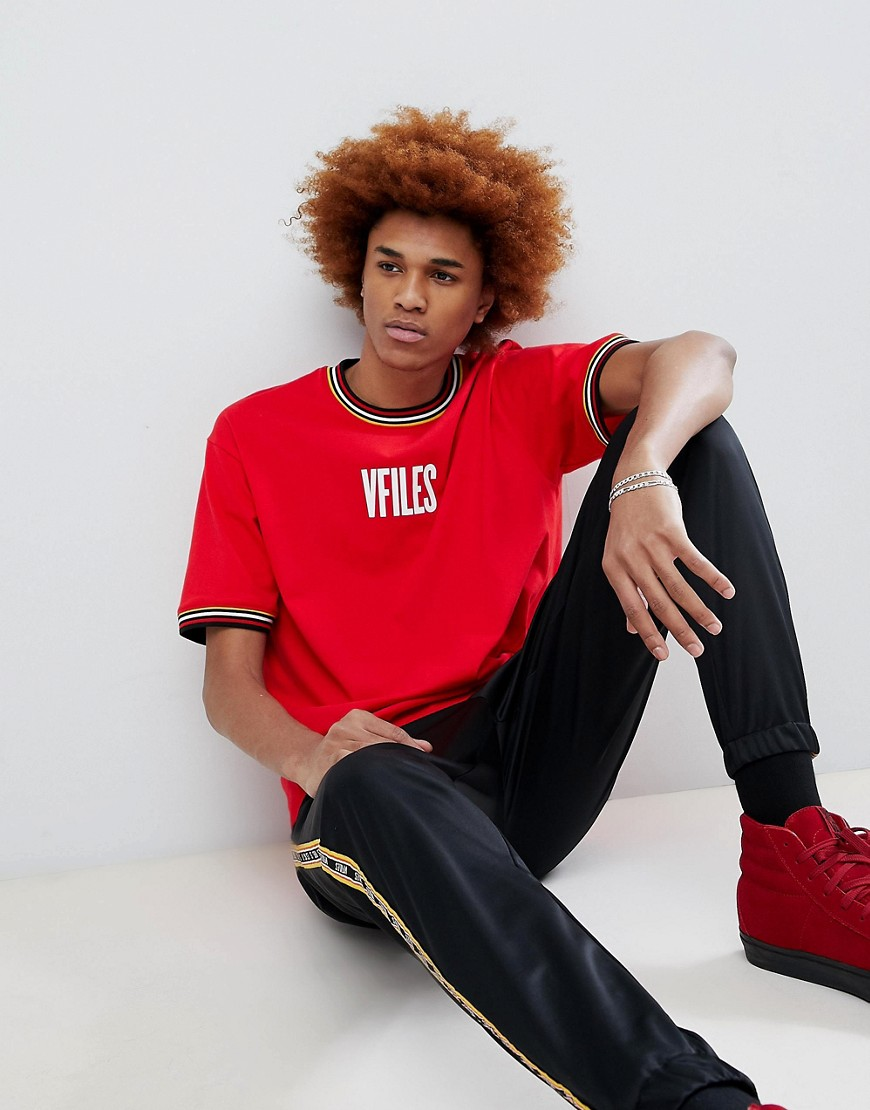 VFILES Logo T-Shirt In Red - Red
