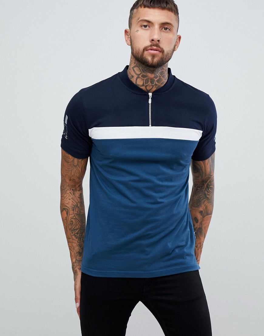 Nicce campus polo shirt in blue with logo - Blue