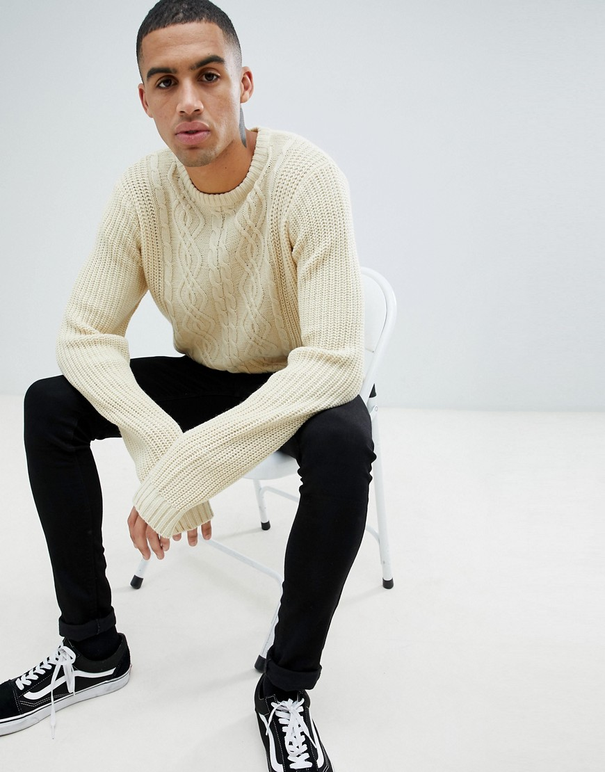 D-Struct Chunky Cable Knit Jumper - Ecru