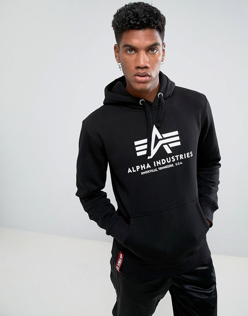 Alpha Industries Logo Hoodie in Black - Black