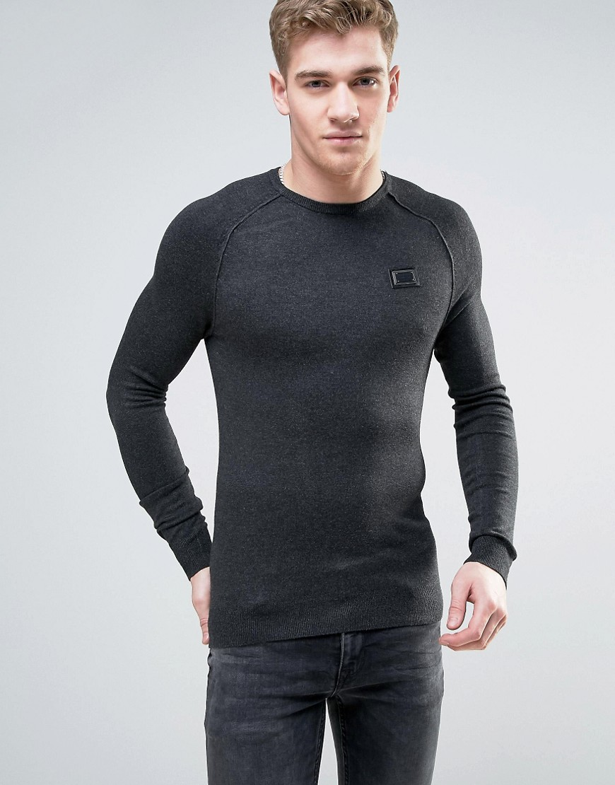 Born Rich Knitted Jumper with Ribbed Collar - Black