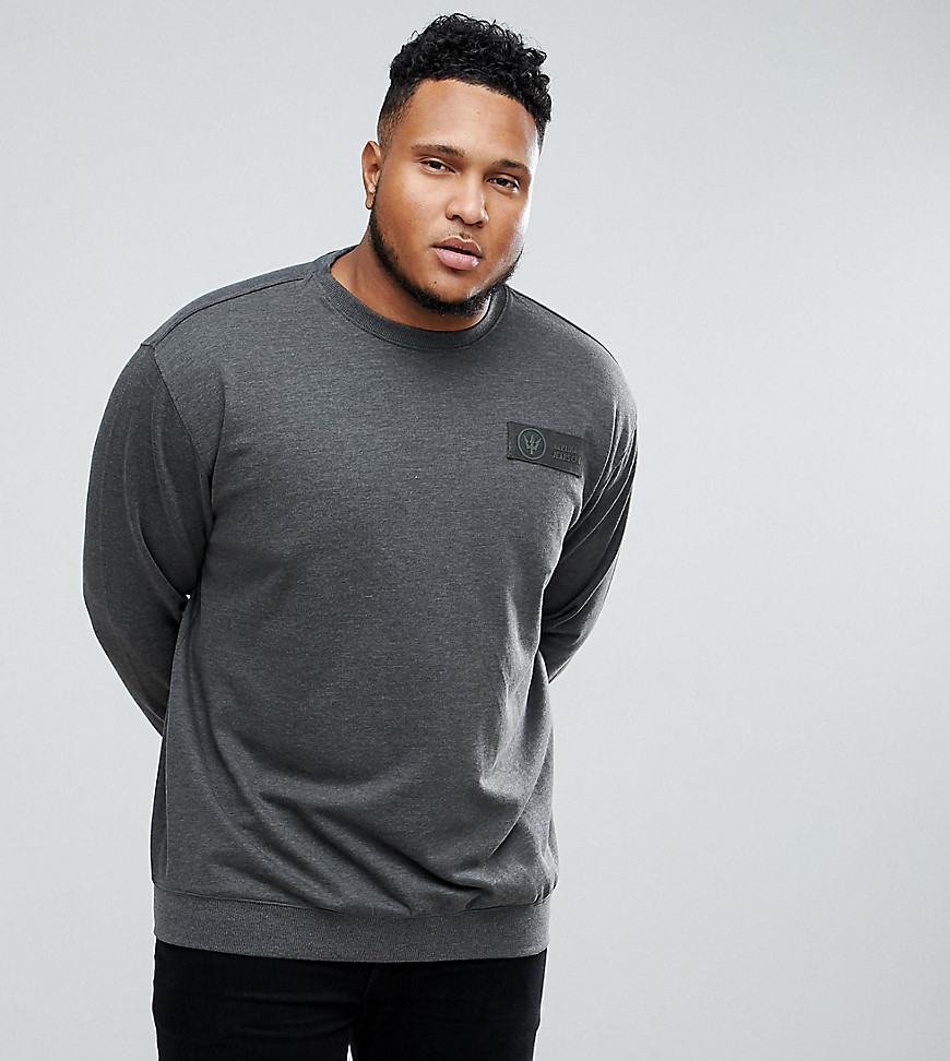 Replika PLUS Sweatshirt in Charcoal Marl - 090 grey