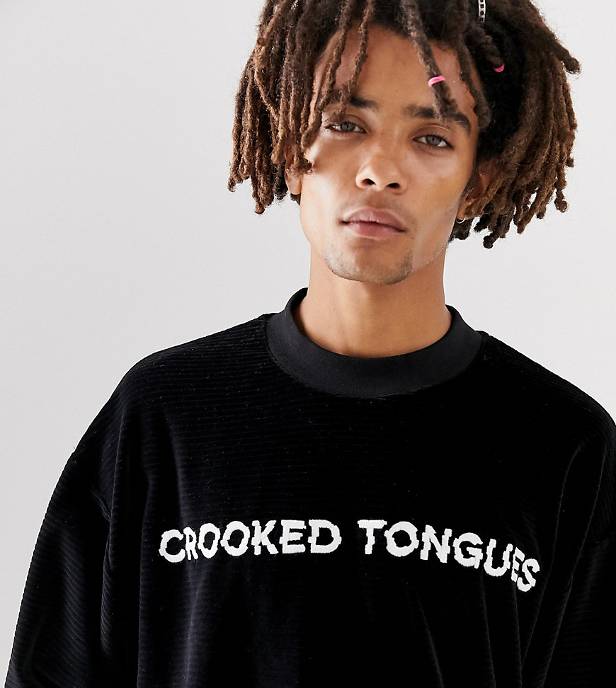 Crooked Tongues long sleeve velour sweatshirt with logo - Black