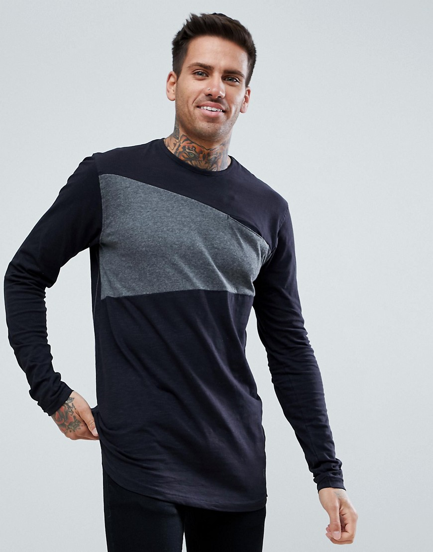 Ringspun Block Long Sleeve Top - Black