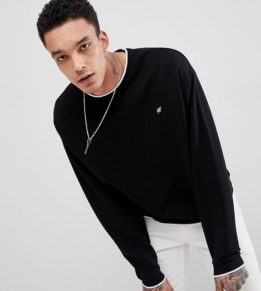 Heart & Dagger boxy sweatshirt with contrast tipping - Black