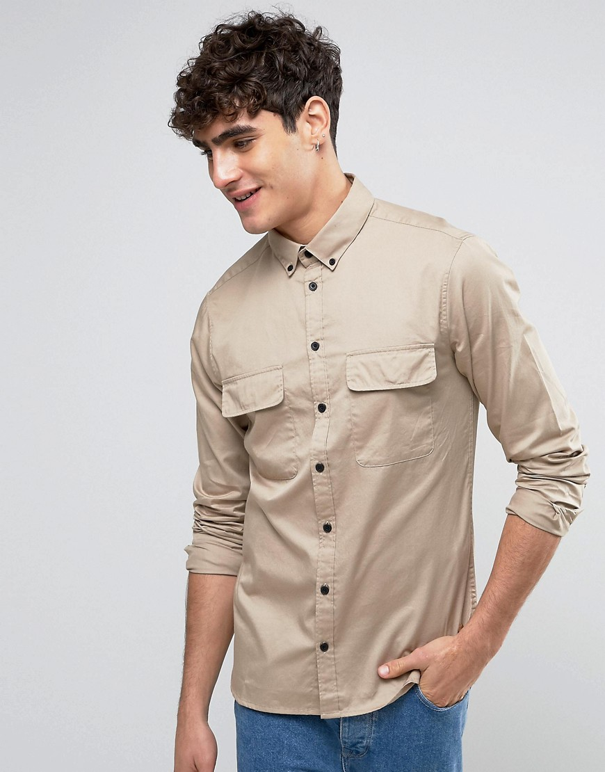 Casual Friday Military Shirt In Regular Fit - Desert sand