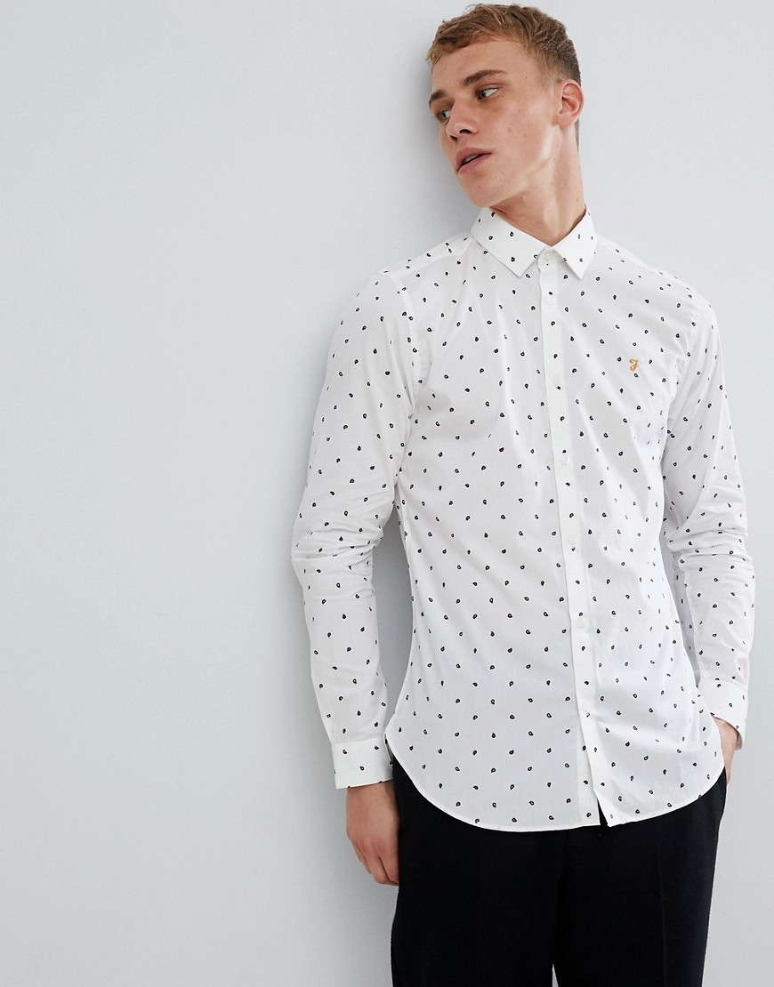 Farah Oakton skinny smart shirt with paisley print in white - White