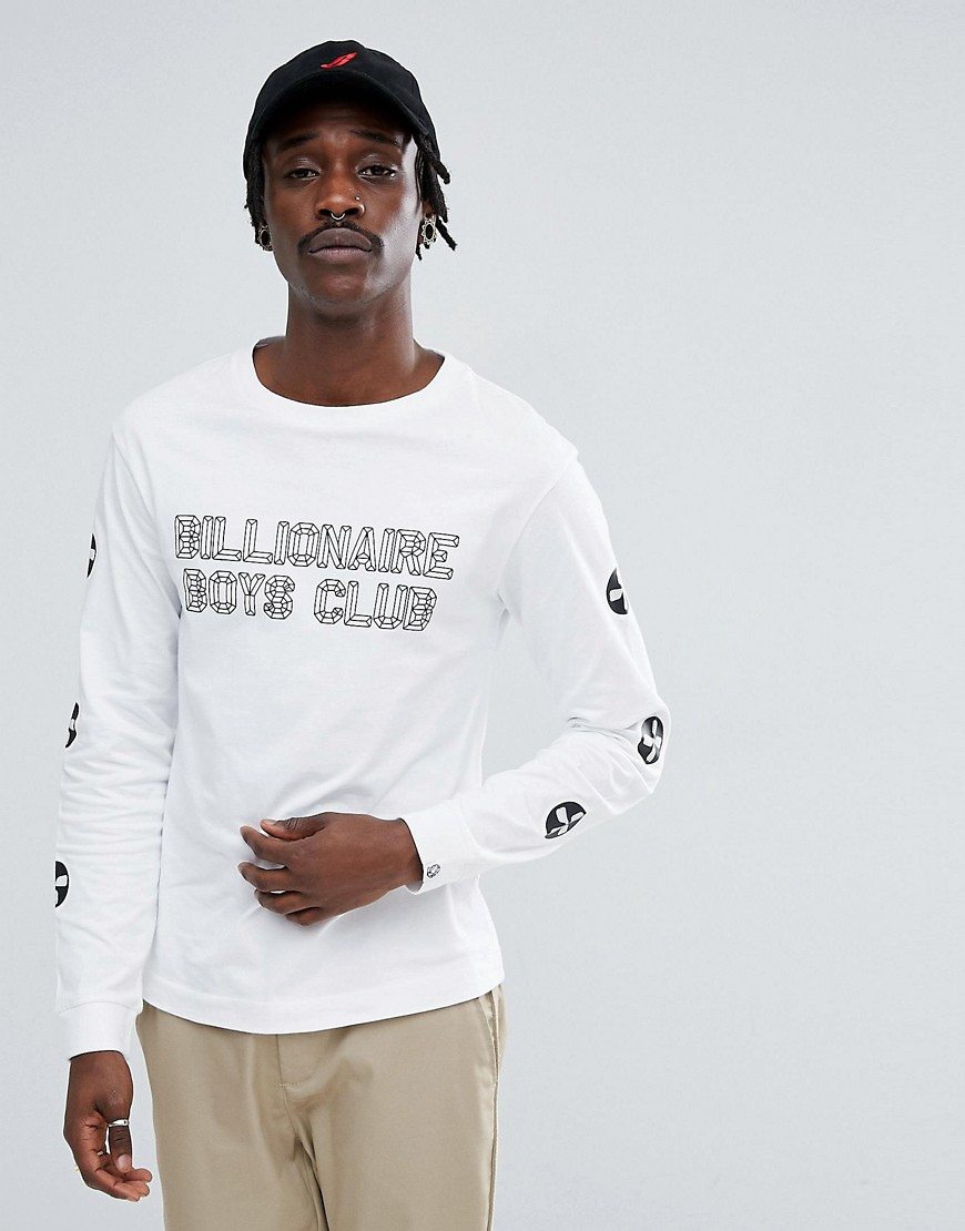 Billionaire Boys Club Long Sleeve T-Shirt With City Scape Back Print In White - White