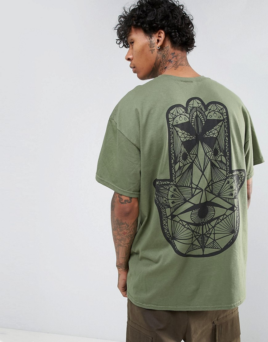 HNR LDN Hand Back Print T-Shirt in Oversized - Green