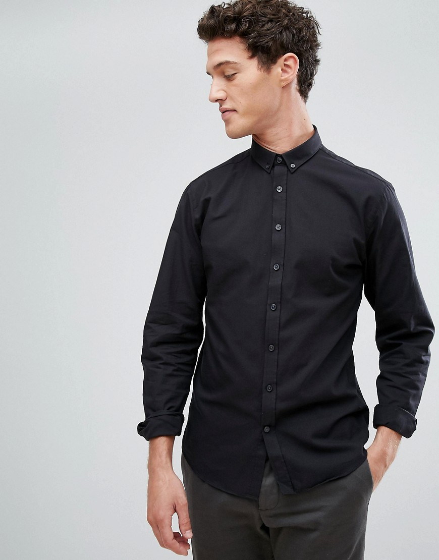 Lindbergh Buttondown Oxford Shirt In Black - Black