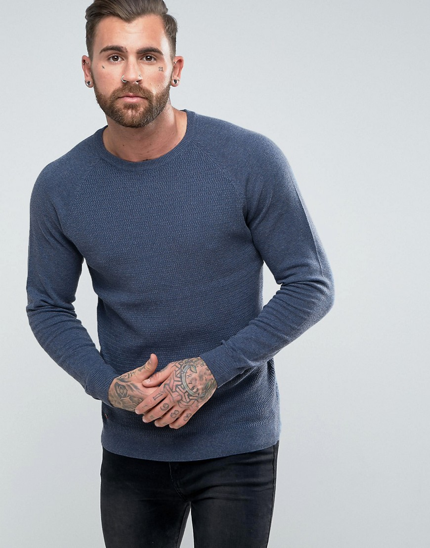 Le Shark Textured Body Jumper With Jersey Raglan Sleeve - Navy