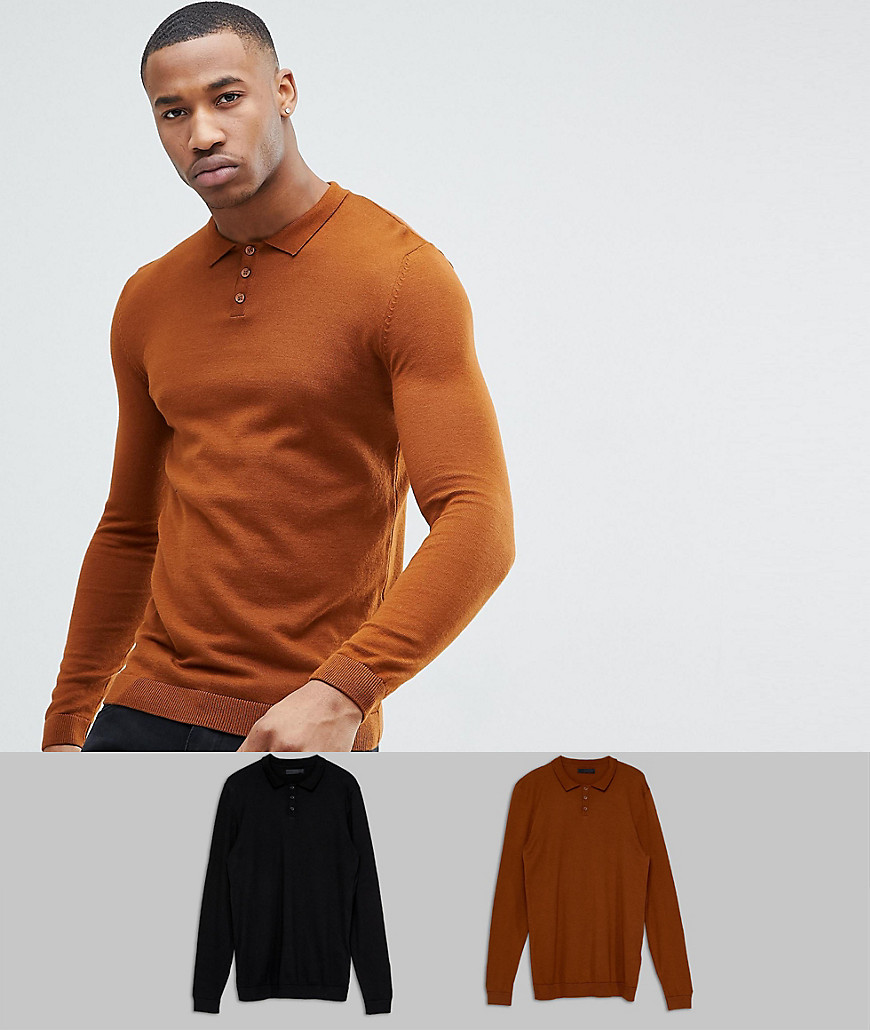 ASOS 2 Pack Knitted Muscle Fit Polo In Tan/Black SAVE - Multi