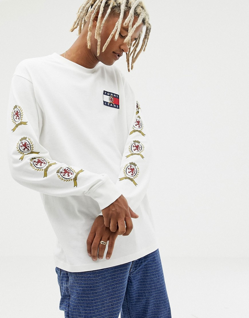 Tommy Jeans 6.0 limited capsule long sleeve top with back and sleeve crest logo in white - Cloud dancer