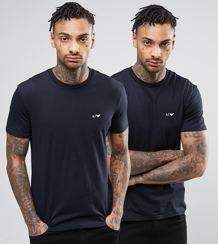 Armani Jeans 2 Pack T-Shirt Regular Fit Navy/Navy - Blu notte
