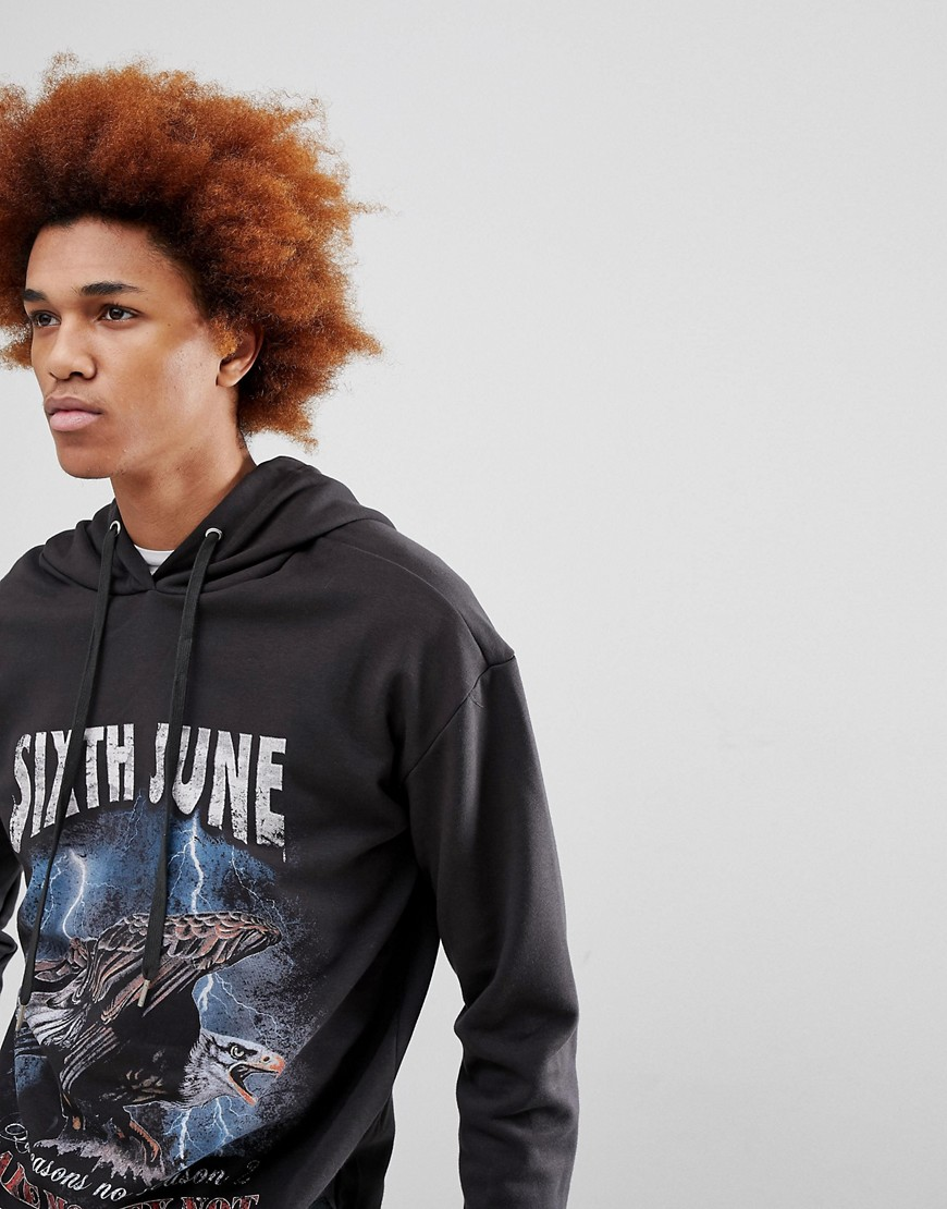 Sixth June Hoodie In Black With Eagle Print - Black