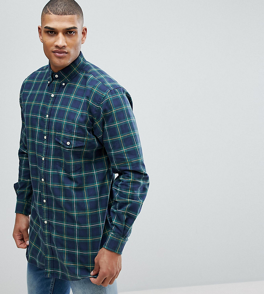 Polo Ralph Lauren Big & Tall Check Oxford Shirt in Dark Green - Army green / navy