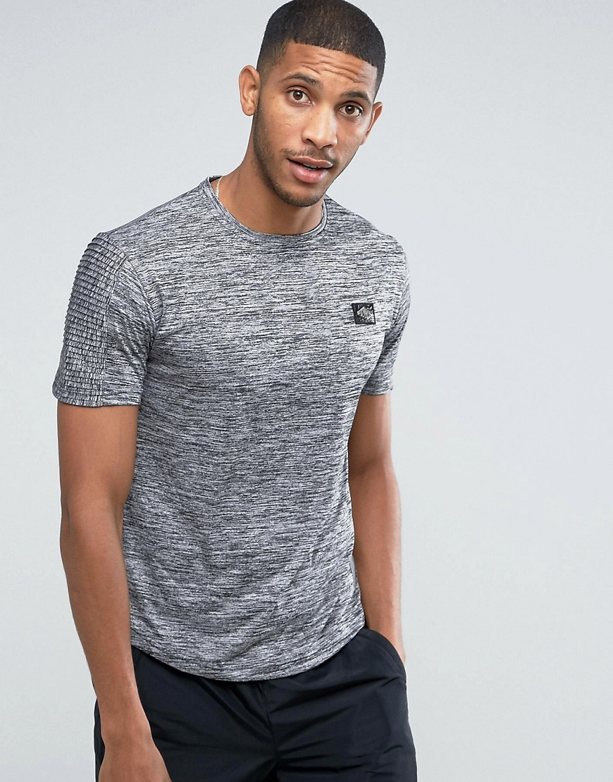 Divine Hunter Sleeve Detail T-Shirt - Grey