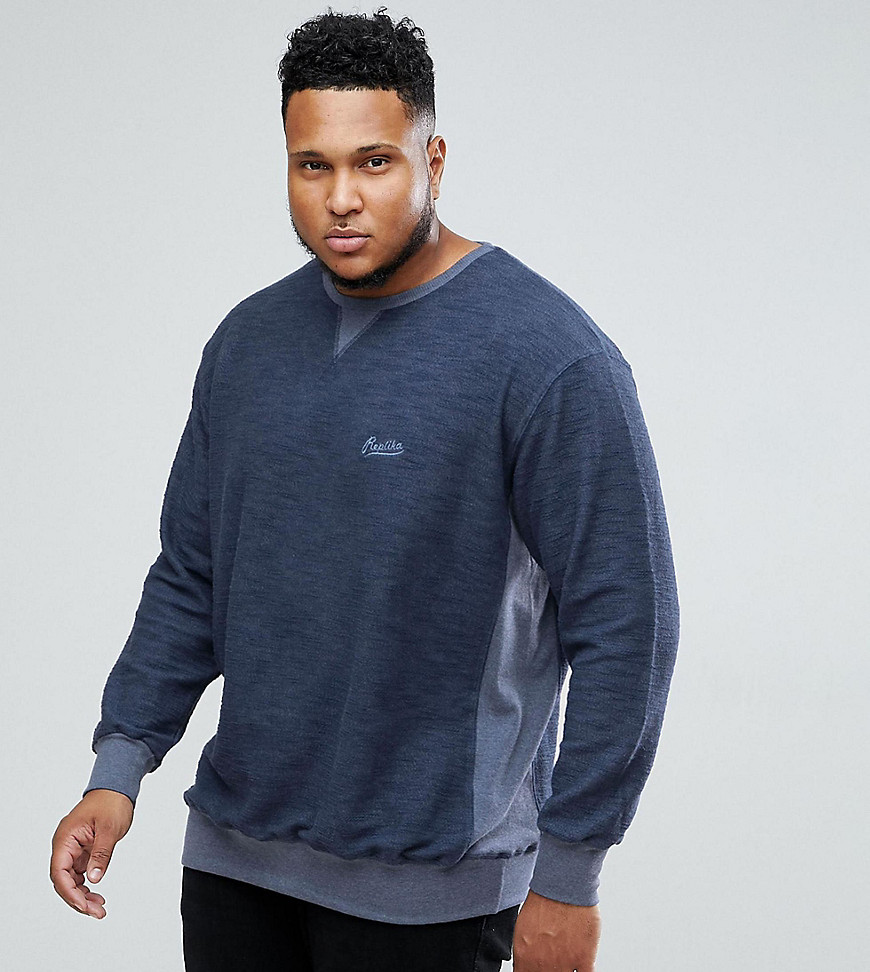 Replika PLUS Sweatshirt With Logo And Colour Block In Blue - 580 blue