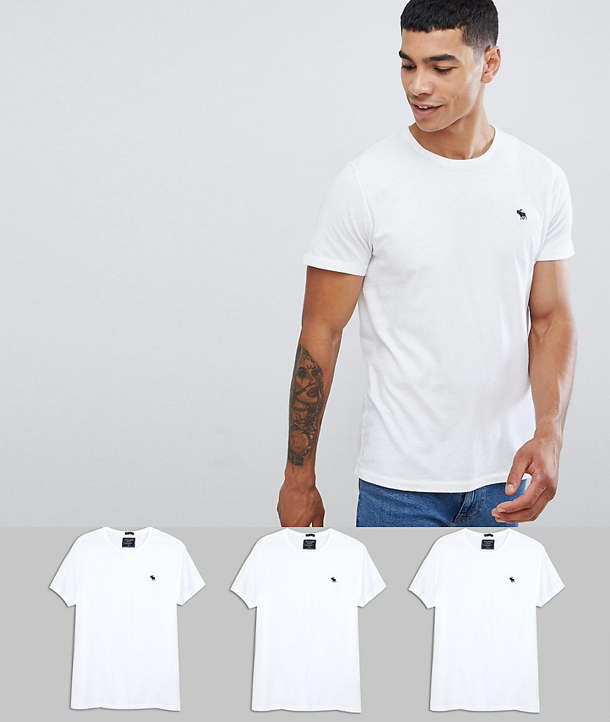 Abercrombie & Fitch 3 pack crew neck t-shirt icon logo in white - White