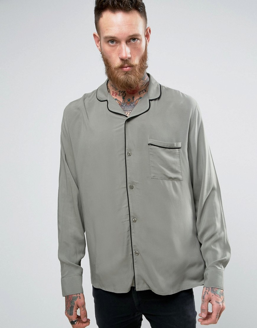 Brooklyn Supply Co Revere Collar Shirt with Piping - Gr1 - green 1