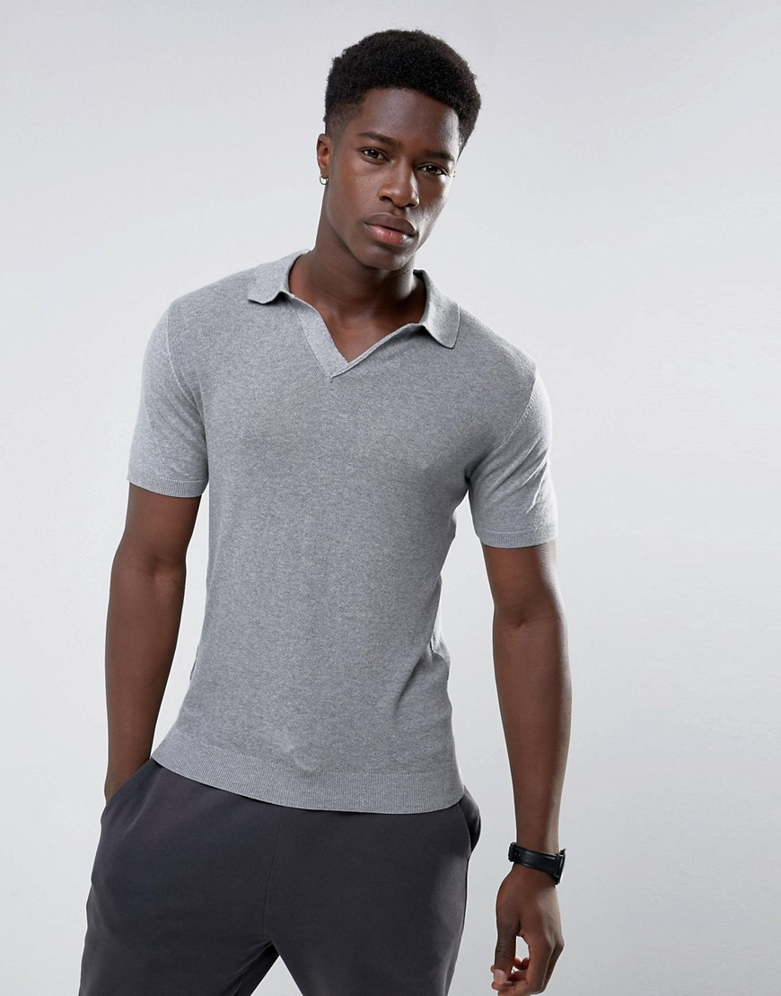 Mango Man Muscle Fit Knitted Polo With Revere Collar In Grey - Grey