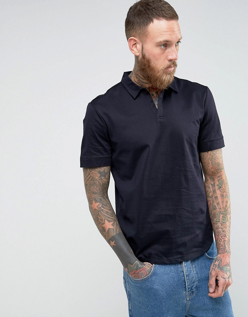 Kiomi Open Collar Polo Shirt - Navy