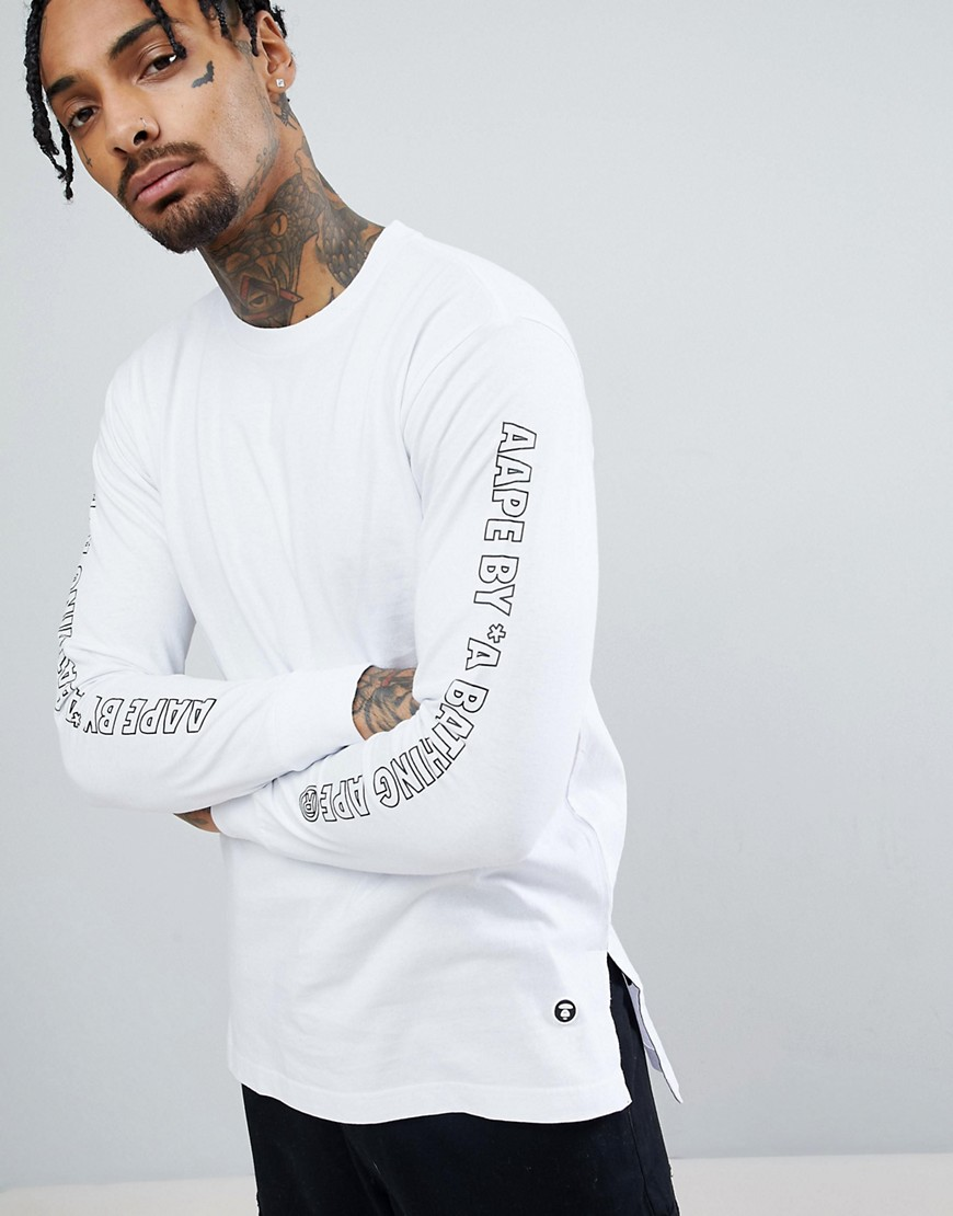 AAPE By A Bathing Ape Longline Long Sleeve T-Shirt With Sleeve Print in White - White