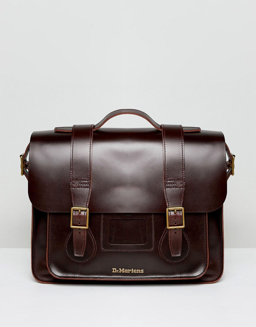 Dr Martens Leather Satchel 15 Inch - Brown
