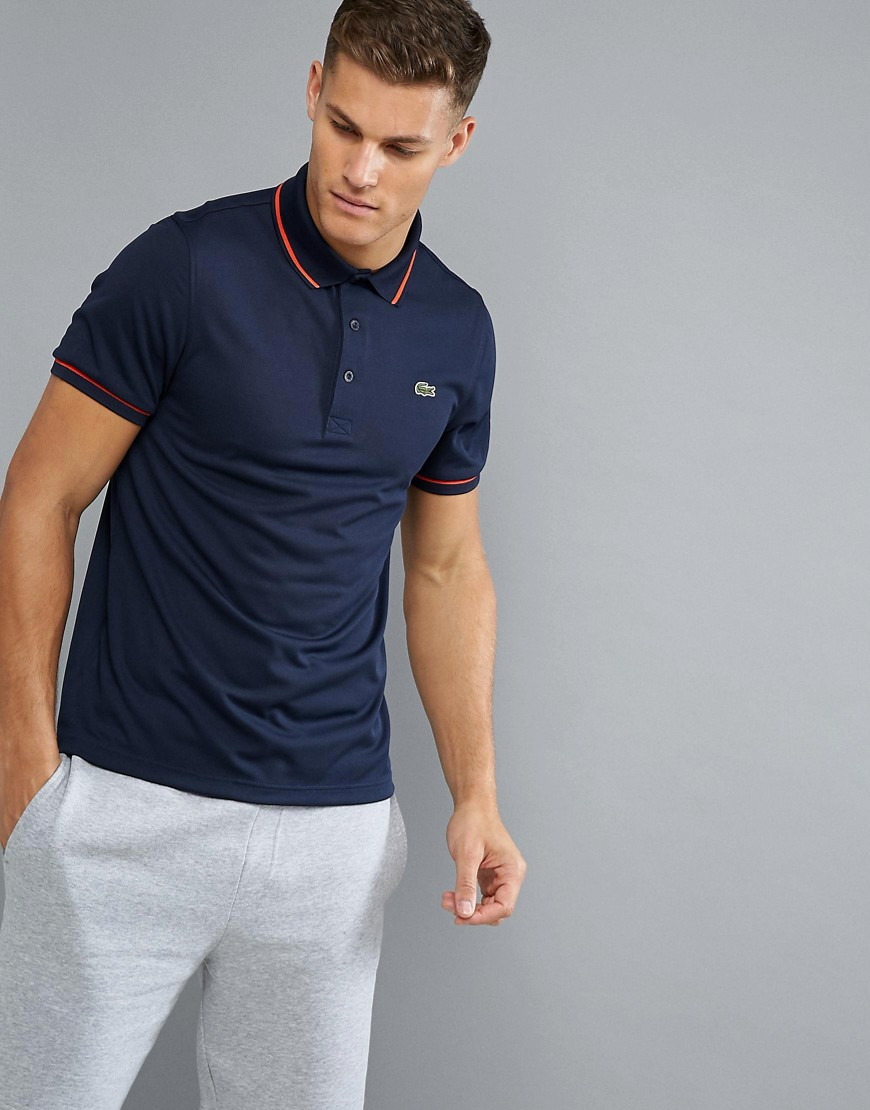 Lacoste Sport Tipped Ribbed Polo Shirt in Blue - Blue