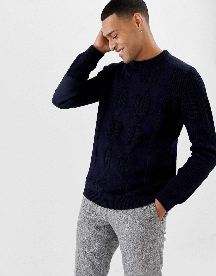 Ted Baker cable knit jumper with shoulder patch detail - Navy