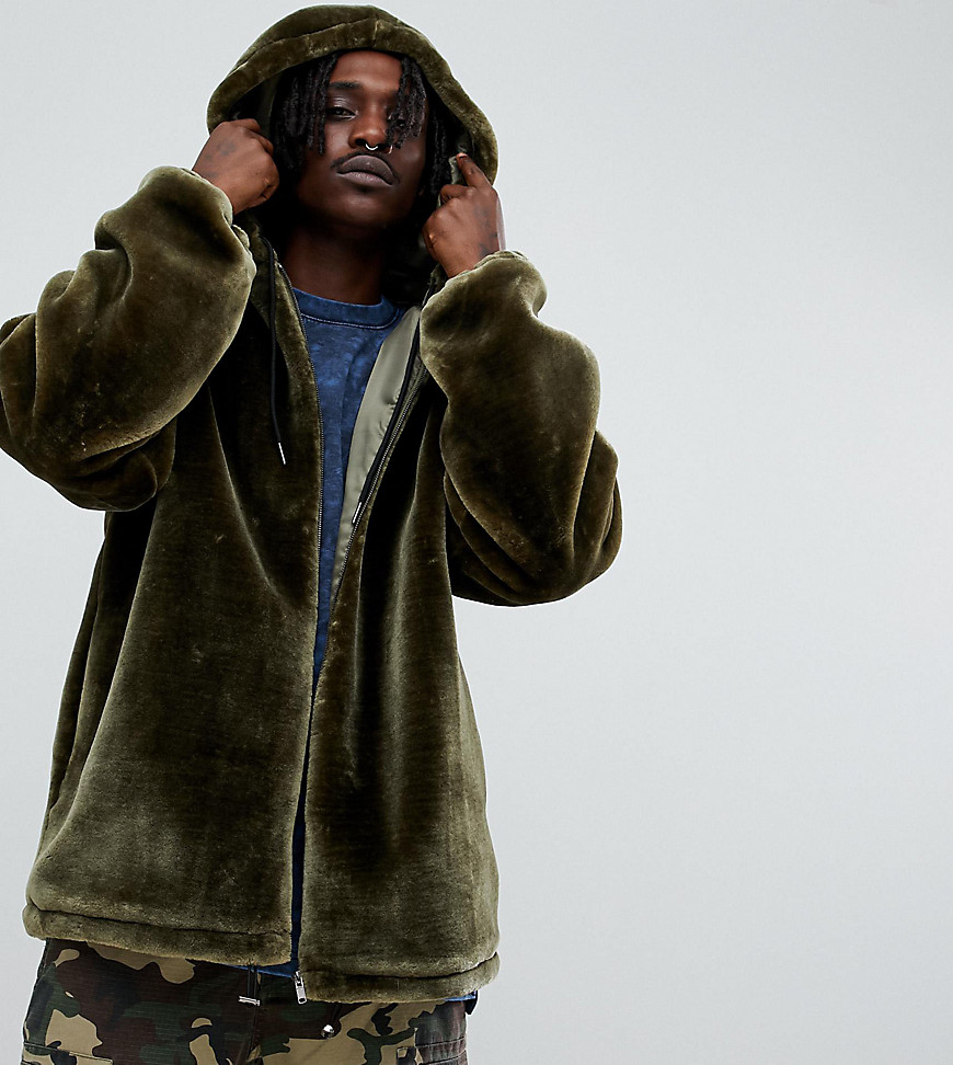 The New County oversized zip up hoodie faux fur - Khaki