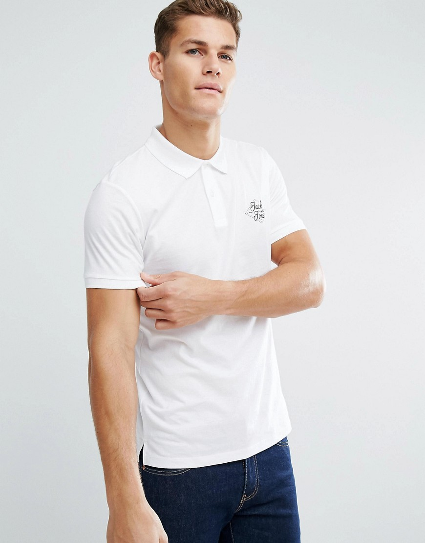 Jack and Jones Chest Polo - White
