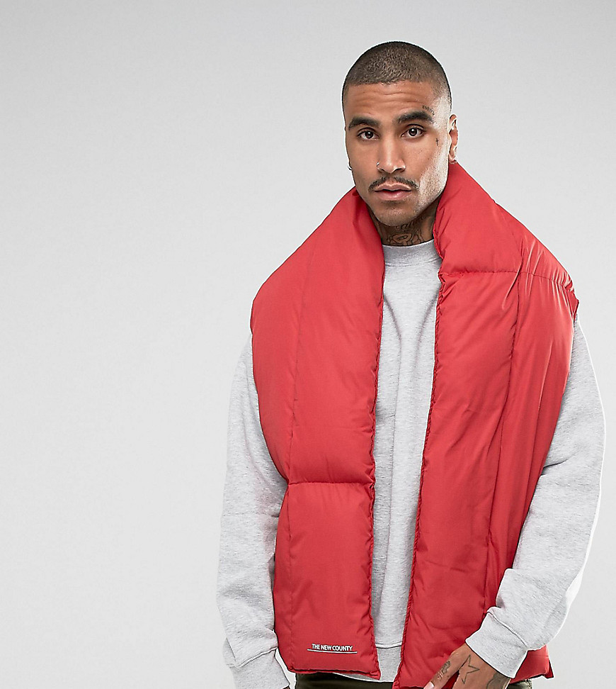 The New County Puffer Scarf In Red - Red