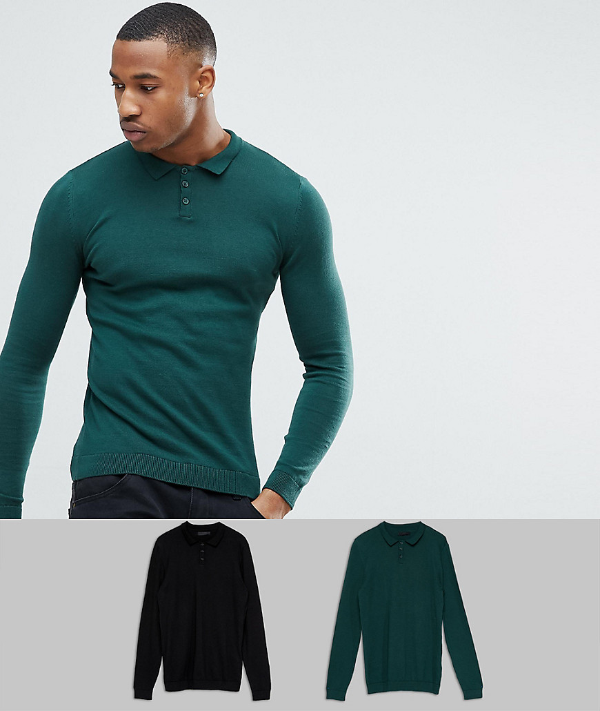 ASOS 2 Pack Knitted Muscle Fit Polo In Green/Black SAVE - Multi