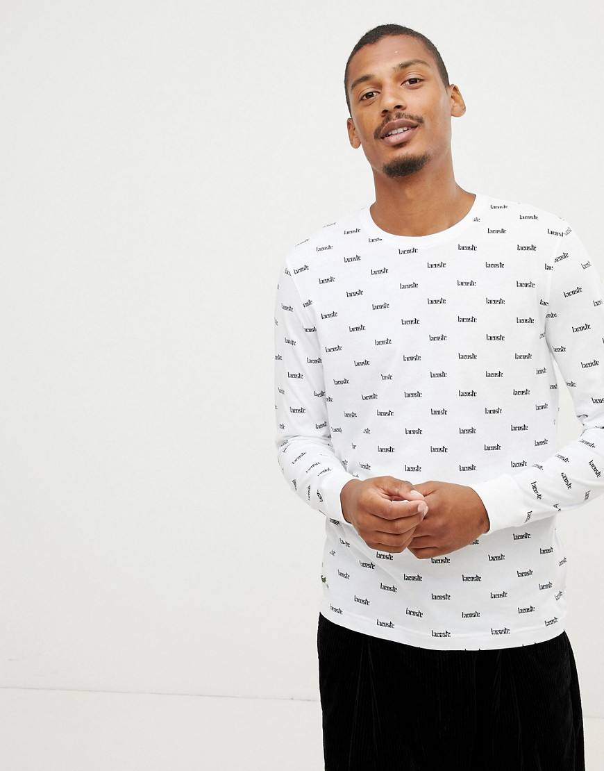 Lacoste L!VE all over logo long sleeve t-shirt in white - White