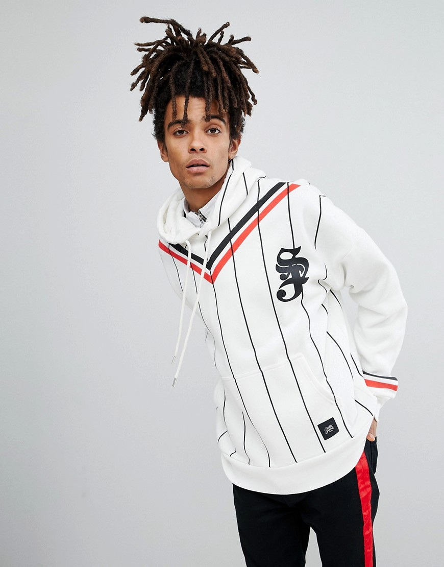 Sixth June Hoodie In White Stripe - White