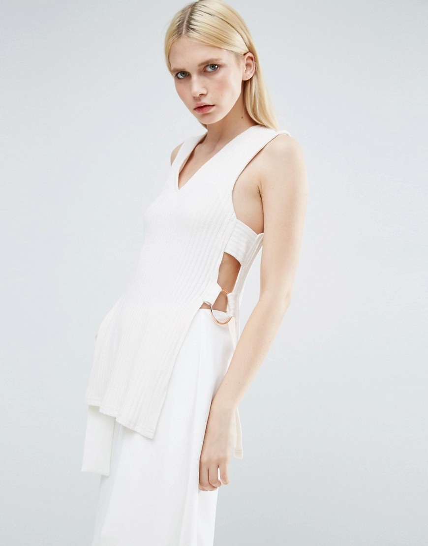 Lavish Alice Cross Back Belted Knitted Tunic - White