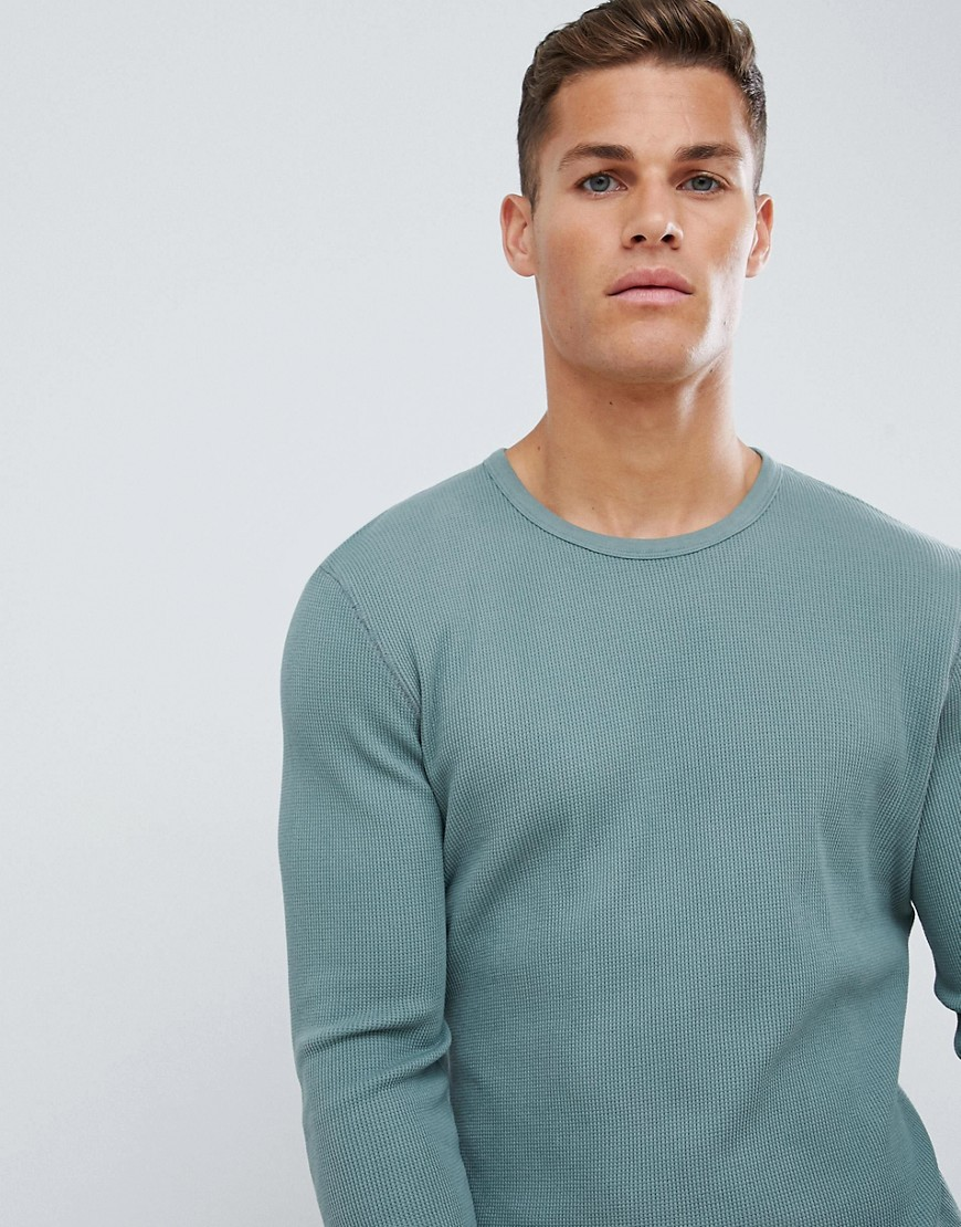 Celio garment dyed long sleeve top in waffle - Green