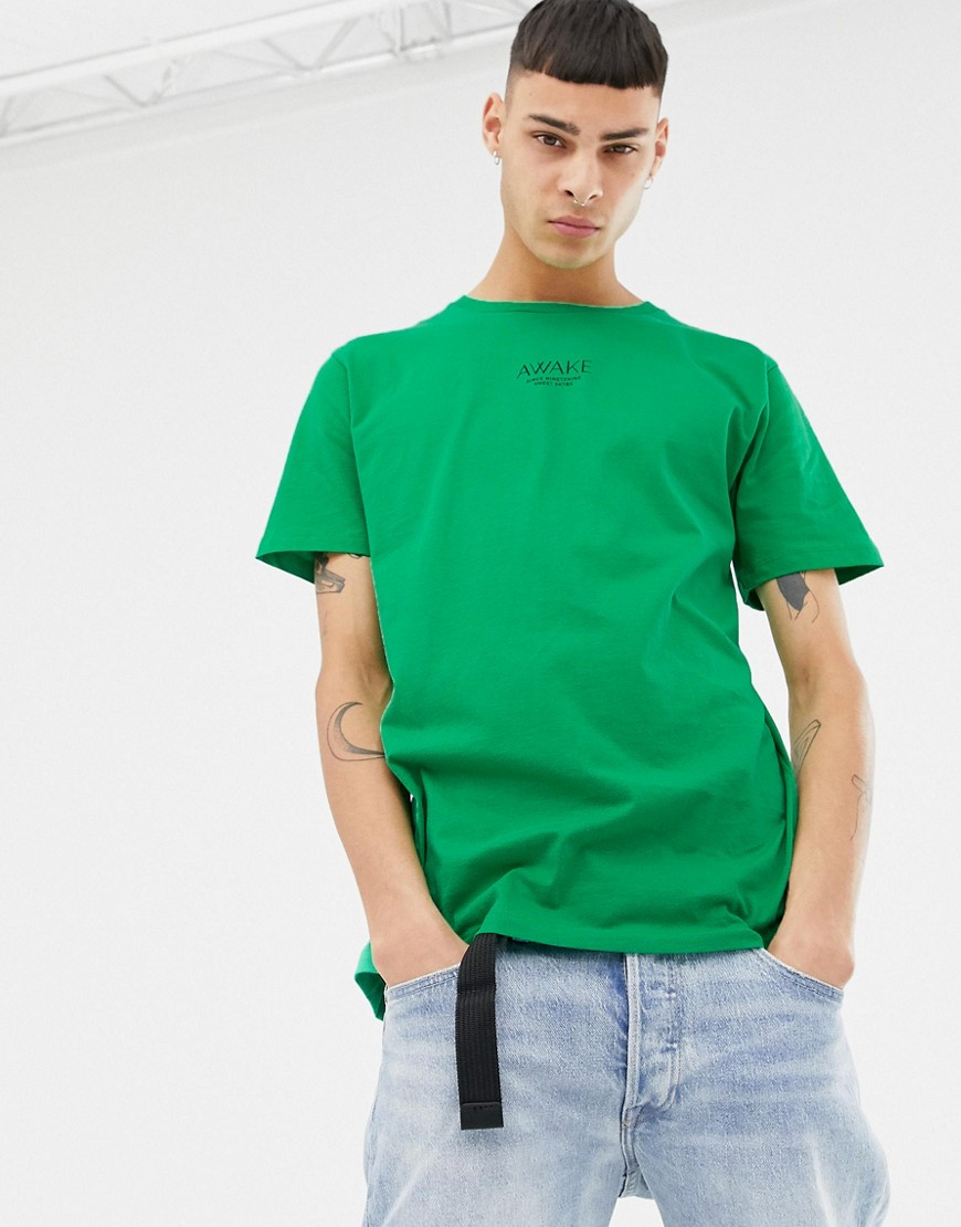 SWEET SKTBS Regular Organic T-Shirt with Awake Print in Green - Green