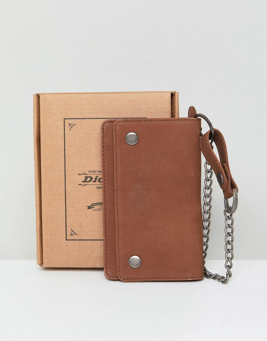 Dickies Deedsville Leather Wallet With Chain In Brown - Brown