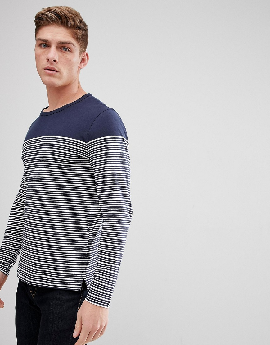 Celio Long Sleeve Top In Linen Mix With Stripe - Marine