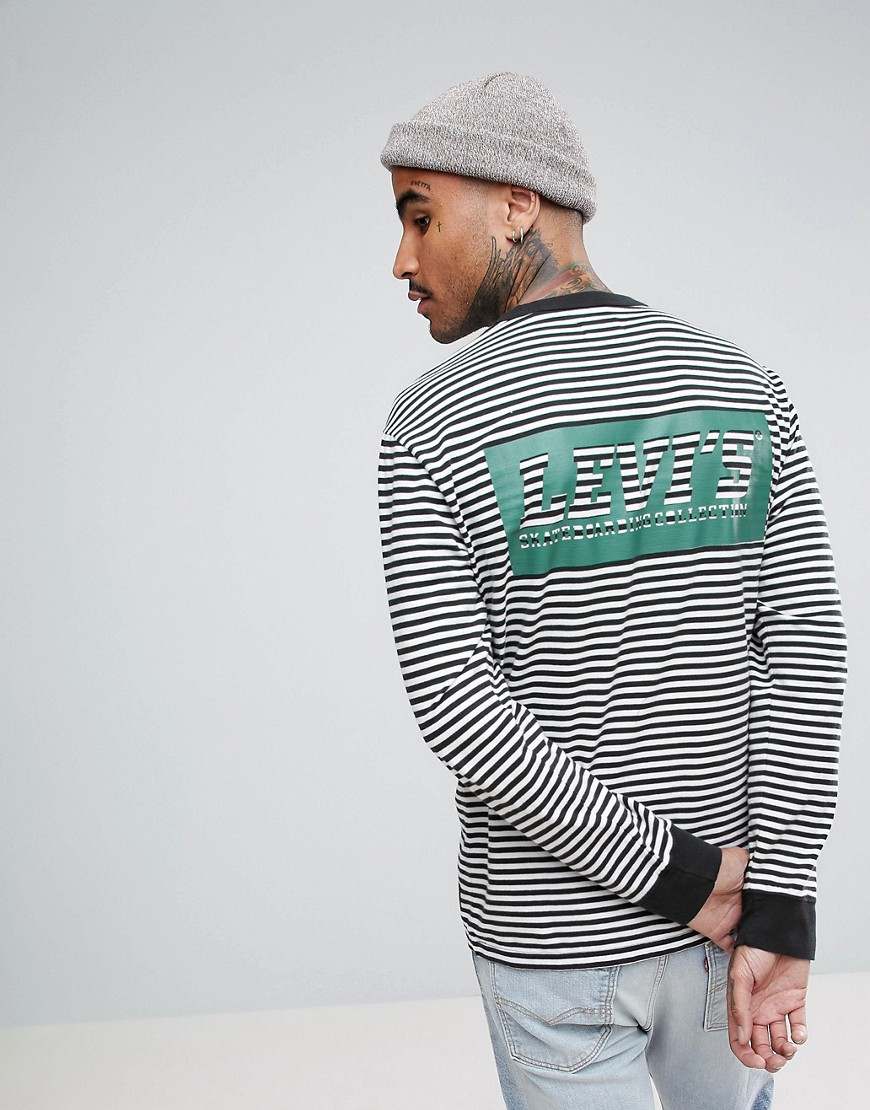Levis Skateboarding Stripe Long Sleeve T-Shirt With Back Print - Green