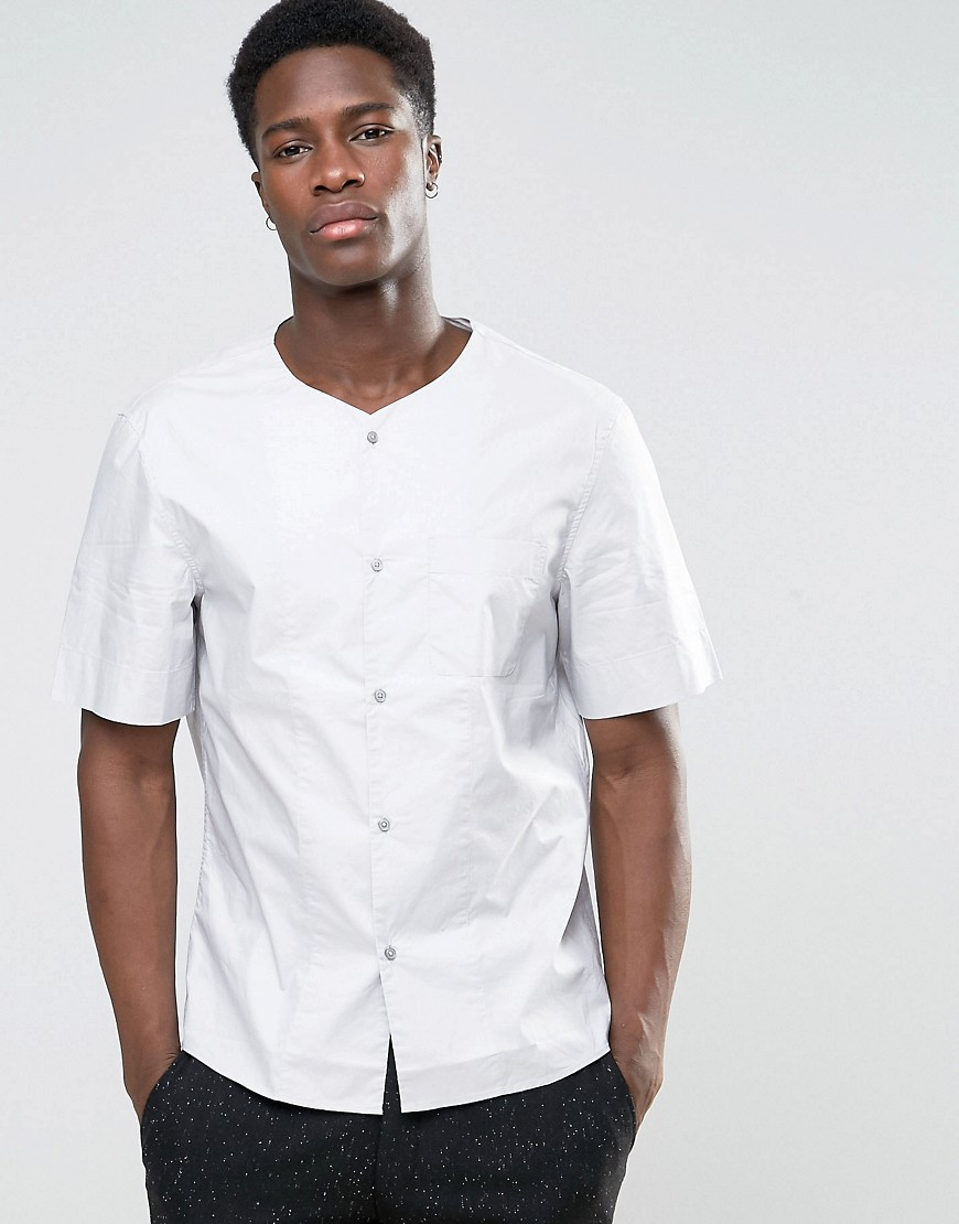 Kiomi Collarless Short Sleeve Shirt in Regular Fit - Lt grey