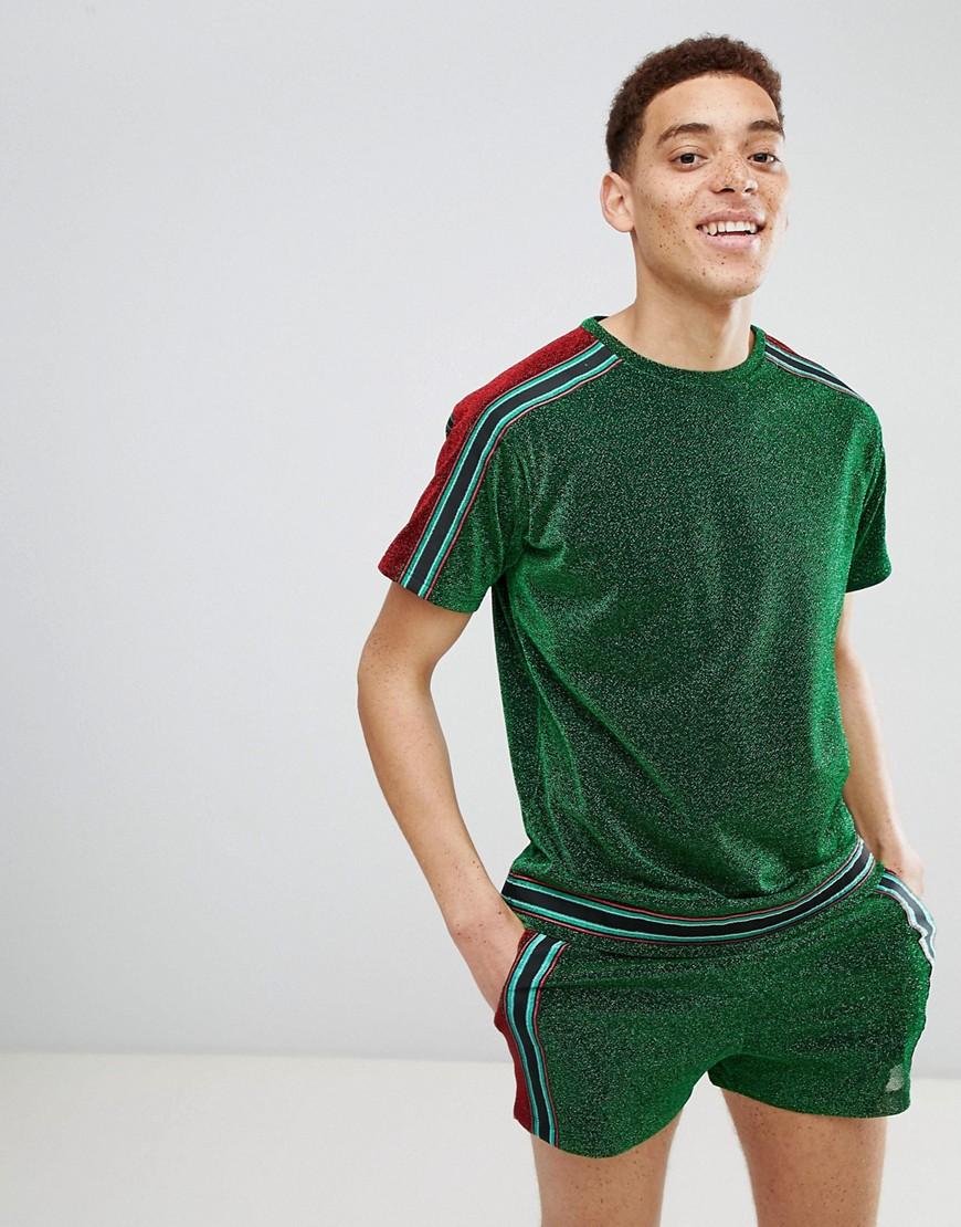 Jaded London metallict-shirt in green with side stripe - Green