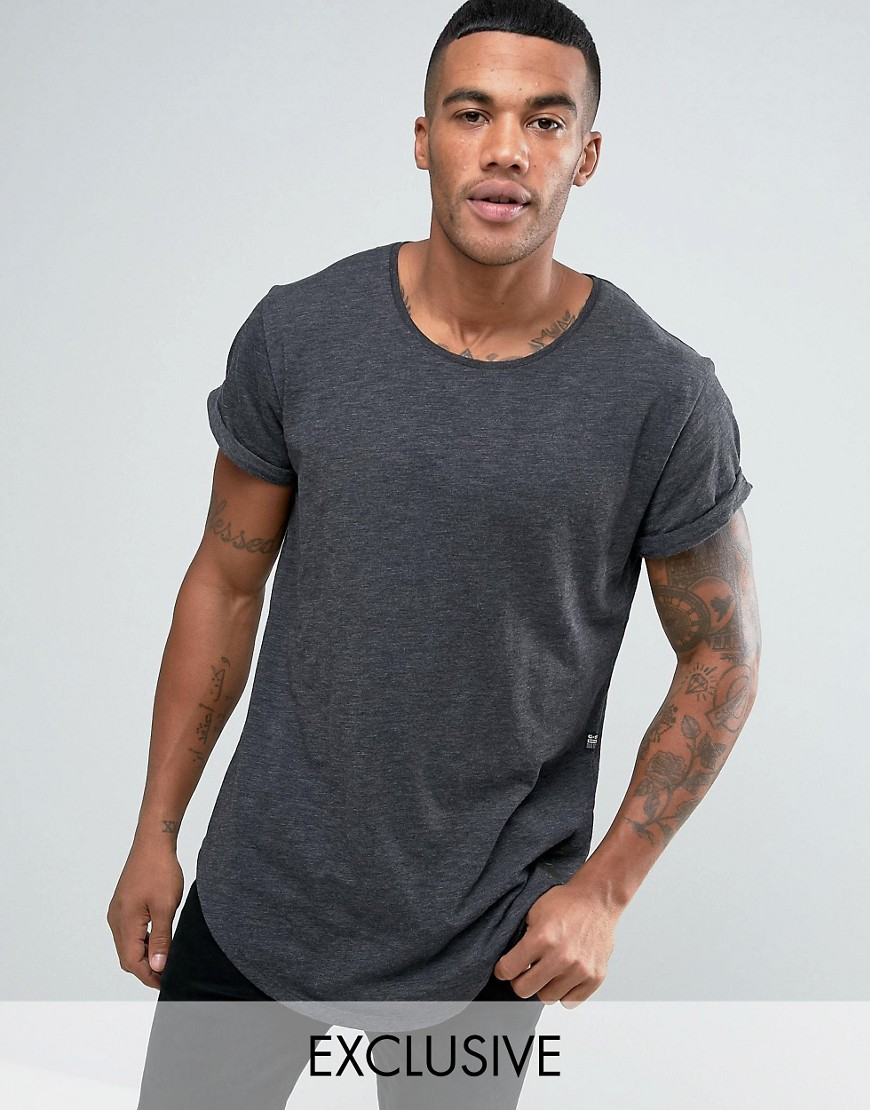 G-Star Be RAW T-Shirt Vontoni Longline Loose Fit Crew Washed Out in Black - Black