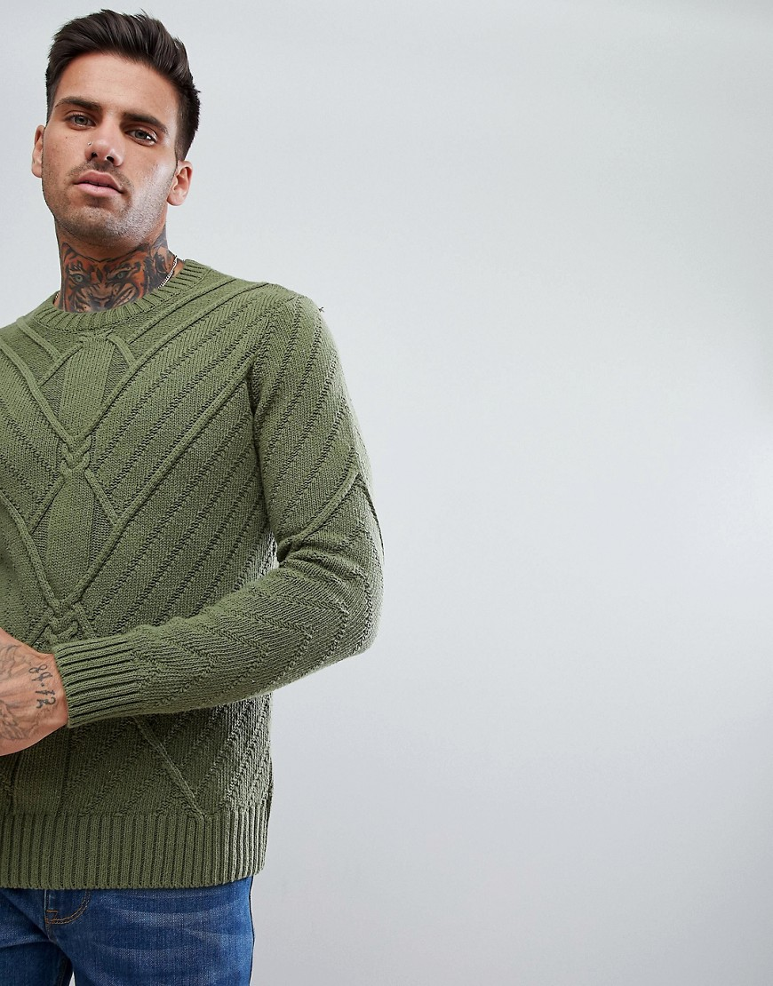 Bershka Cable Knit Jumper In Olive Green - Khaki