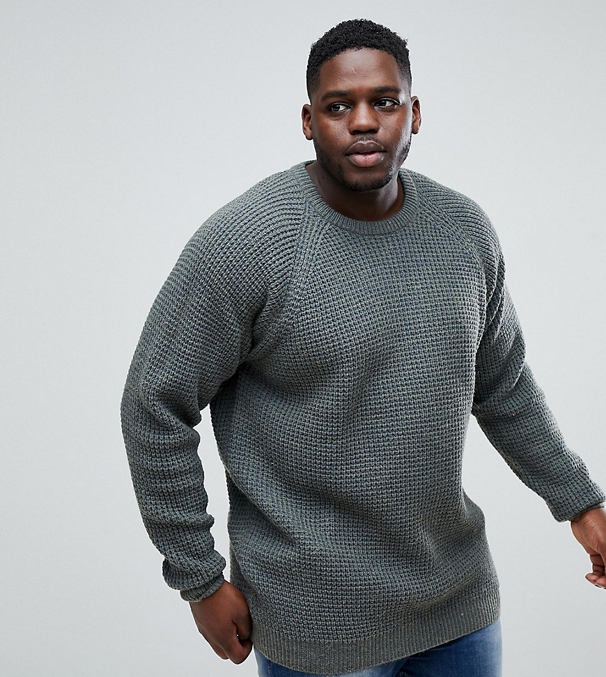 Replika PLUS Fisherman Knit Jumper In Wool Blend - 575 petrol