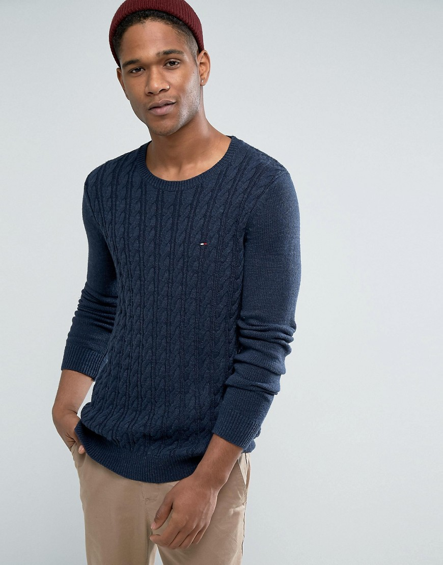 Tommy Hilfiger Denim Cable Jumper in Navy - Navy