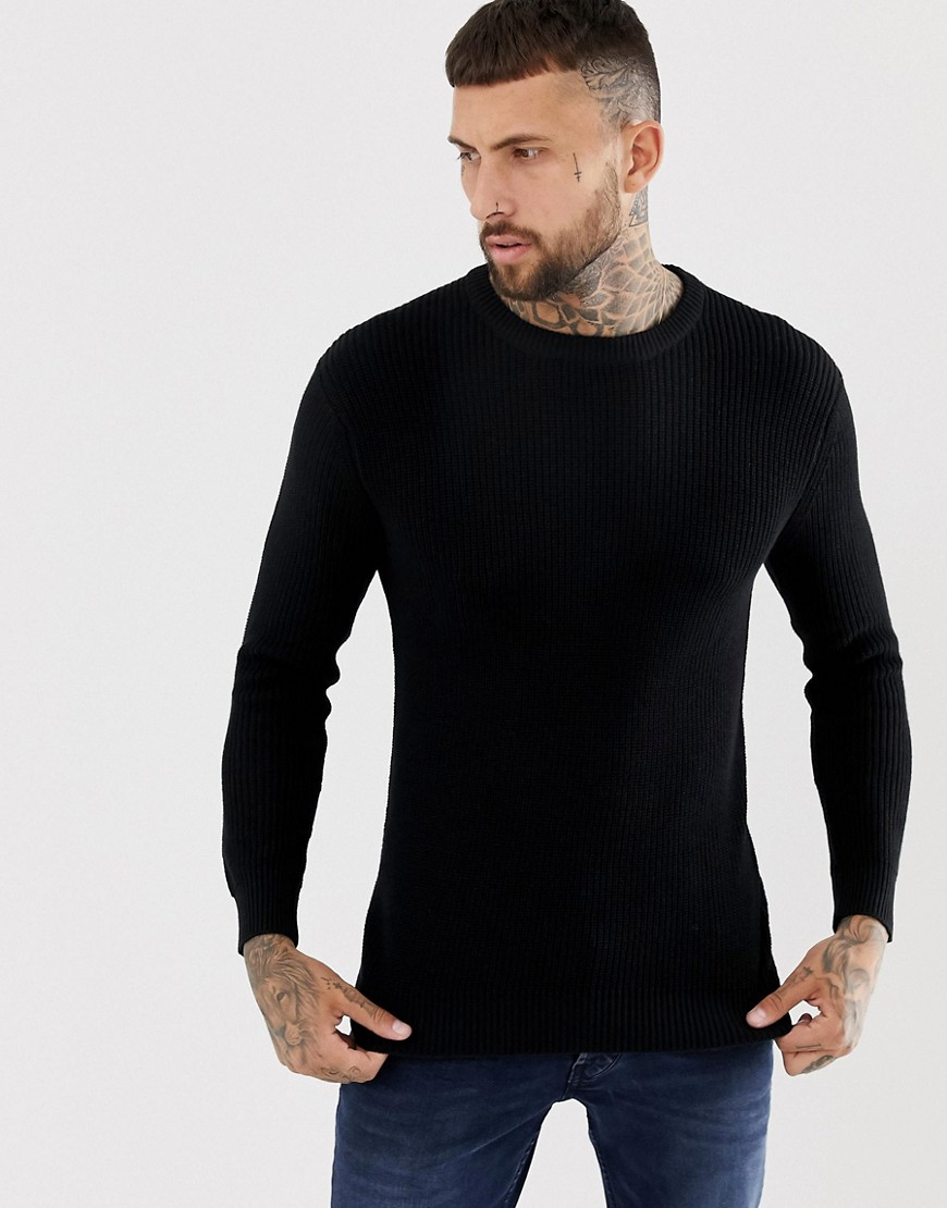 Bershka knitted jumper in black - Black