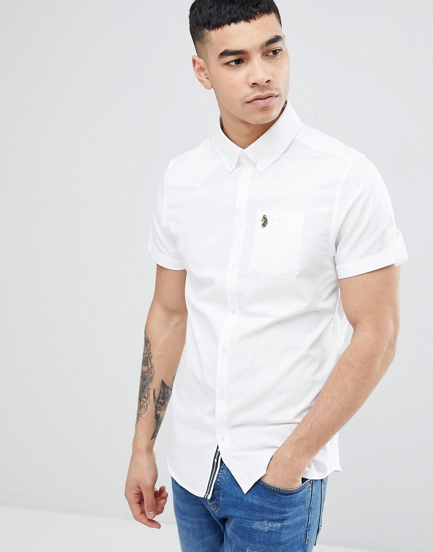 Luke Sport Jimmy Travel Short Sleeve Buttondown Shirt in White - White
